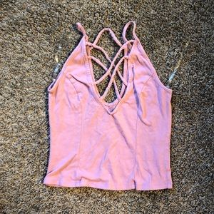 Charlotte Russe blush strappy crop top